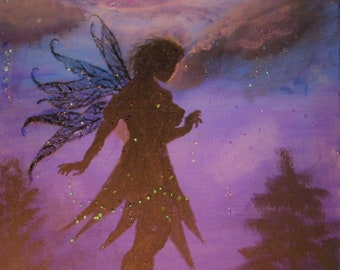 """Fairy Painting 16""""x20"""" - Fairy silhouette night scape painting on stretched canvas Purples and blues - Glowing Moon - Fairy Dust Sparkles"""