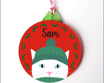 Personalised Cat Christmas Decoration- White Cat Christmas Tree Ornament- 6 colours