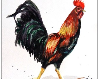 "Original Water Color Painting, Rooster , 10""x8"", 0906161, red, green, children art"