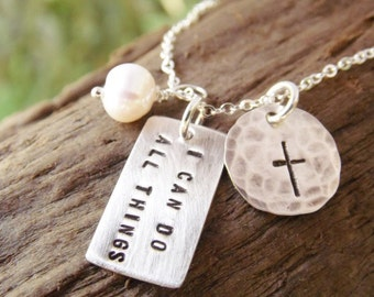 Hand Stamped Necklace Sterling Silver Encouragement Gift, Philippians 4 13 I Can Do All Things