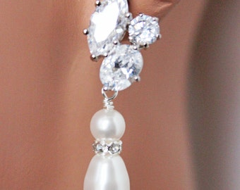 Pearl Drop Wedding Earrings, Rhodium multi-shape jewel CZ post earrings, Bridal Earrings, Bridesmaids Earrings