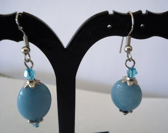 Blue Dangle Oval Earrings