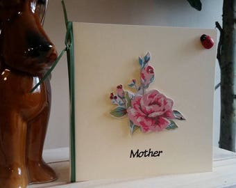 Mother Birthday Card or Thank You Card - Handmade Card with Roses, Ladybird - Special Mother Card - 3D Unique Card