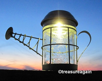 Water Can Mason Jar Solar Light 4X Brighter Solar Jar in Watering Can Basket, Outdoor Garden Lighting