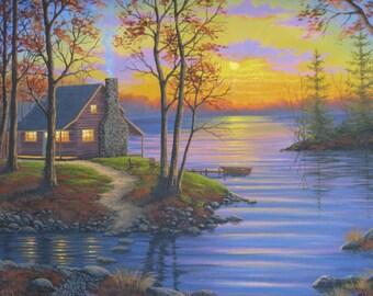Cabin on the Lake. Cabin. Lake. Sunset.