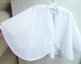 Natural christening cape. White batiste, baptism, baby, boy, girl, full circle cloak, coat, mantle