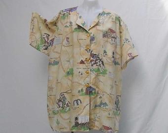 SALE! Cowboy shirt, Plus size shirt, plus size blouse, plus size over shirt, tan brown, au 28 US 24 UK 26 shirt, upcycled shirt, refashioned