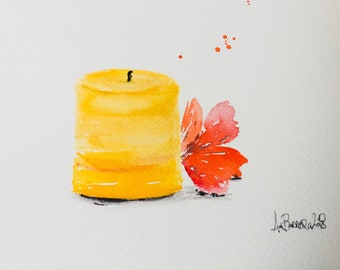Orginial Watercolor Candle