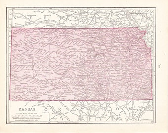1916 State Map Kansas - Vintage Antique Map Great for Framing
