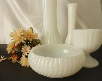 vintage milk glass collection  wedding centerpieces