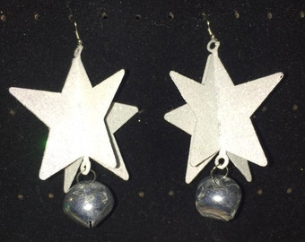 White Sparkle Star - Jingle Bell Christmas Earrings - PERFECT for Ugly Christmas Sweater Party