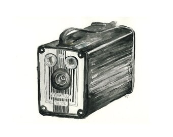vintage camera watercolor giclee art print // SPARTUS // 8x10 print - home decor -- wall art