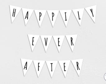Happily Ever After Garland, Bunting, Banner, wedding, bride, groom, Honeymoon, Instant Download, printable,