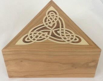 Triquetra dresser box; trinity box; trinket box; jewellery box; marquetry box; inlaid wooden box; triangular box