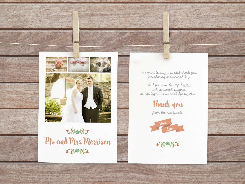 Hochzeit Gast vielen Dank Foto Dankeskarte Danksagungen