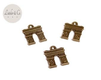 5 Arc de Triomphe Paris France 17x14mm bronze metal charms / travel-B21
