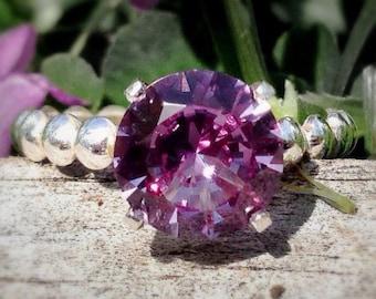 Alexandrite Ring, Silver Bead Band Ring, 8mm Engagement Ring, Wedding Ring