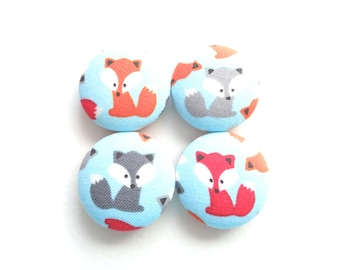 Button Magnets - Fox Magnets - Turquoise Magnets - Orange Magnets - Gray Magnets - Fox Pattern - Playful Magnets - Fridge Magnets