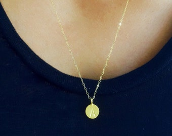 Gold initial necklace, personalized jewelry, custom hand stamped, long goldnecklace, letter necklace, gold dot necklace, name necklace