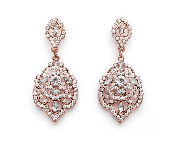 Rose Gold Vintage Chandelier Earrings Rose Gold Chandelier