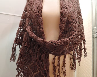 Сhocolate lace brown crocheted shawl