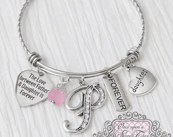 Gifts for Daughter from Dad, The love between Father and daughter is forever- Father Daughter Jewelry, Gift, Personalized Bangle Bracelet
