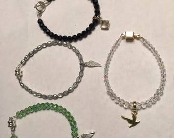 Angel wing Charm bracelet with magnetic clasp or toggle clasp