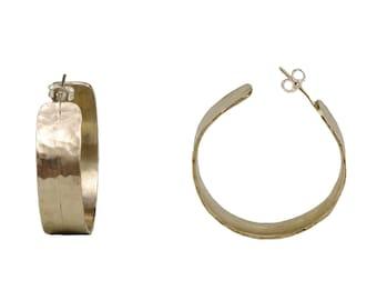 Silver wide hoops, Chunky large hoops, fat silver hoops, stud thick hoops, plain hoops, alpaca earring, gift for mom, statement hoop