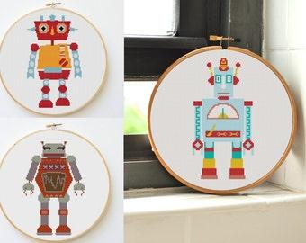 cross stitch pattern modern 3 robots set nursery decor boy embroidery art robot embroidery designs nursery wall art mr robot patterns