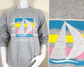 30% Off Sale 80s Aruba Sailboat Gray Heather Sweatshirt, Size Large to XL