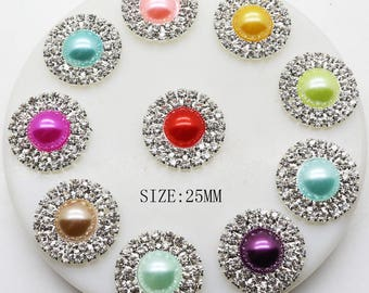 Perle Plate paste - color - diameter 25 mm - silver flat bead adorned with Rhinestone & Pearl - sold individually-