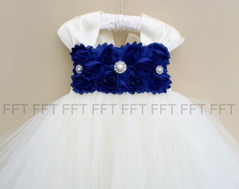 Blue, Cobalt, Dark Royal Blue & Ivory (or white) Flower Girl Dress With Cap Sleeves