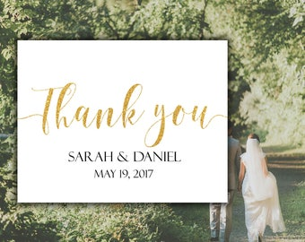 Thank you card Custom thank you card Gold Wedding thank you cards Custom wedding cards Calligraphy Thank you Wedding sign Thank you sign