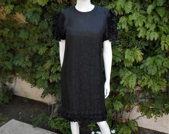 Vintage 1980's I. Magnin Black Silk Dress - Size 8