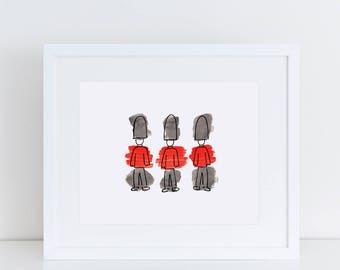 London Art Print // London guards, royal guards, London illustration, London prints, home decor, London gift, watercolor painting