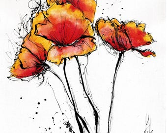 Red poppy art print, 8x6, 8x12, 6x12, A5, A4, A3, select size, canvas sheet, watercolor flowers