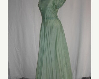 On Sale Vintage 1940's Short Sleeve Evening Dress Seafoam Green