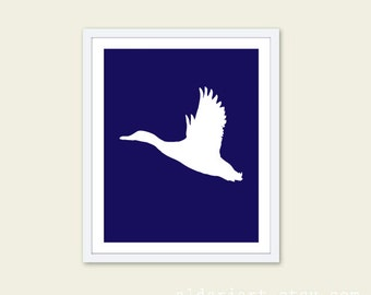 Duck Art Print - Mallard Duck Wall Art - Flying  Duck - Bird Print - Navy Blue Wall Art - Nursery Wall Art - Aldari Art