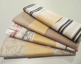 four coupons 50 x 50 cm, beige 100% cotton fabric