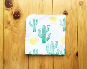 desert cactus and moon handkerchief | ladies hankie | cotton hand wipe | hand stamped face wipe | eco friendly nose wipe | nature lover gift