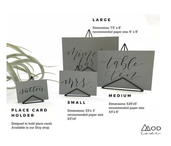 Unique Sign Holder Size Options Small Medium Or Large - Place card dimensions