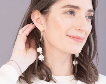 Sterling silver ceramic earrings - Unique jewelry gift for her - Mismatched dangle earrings