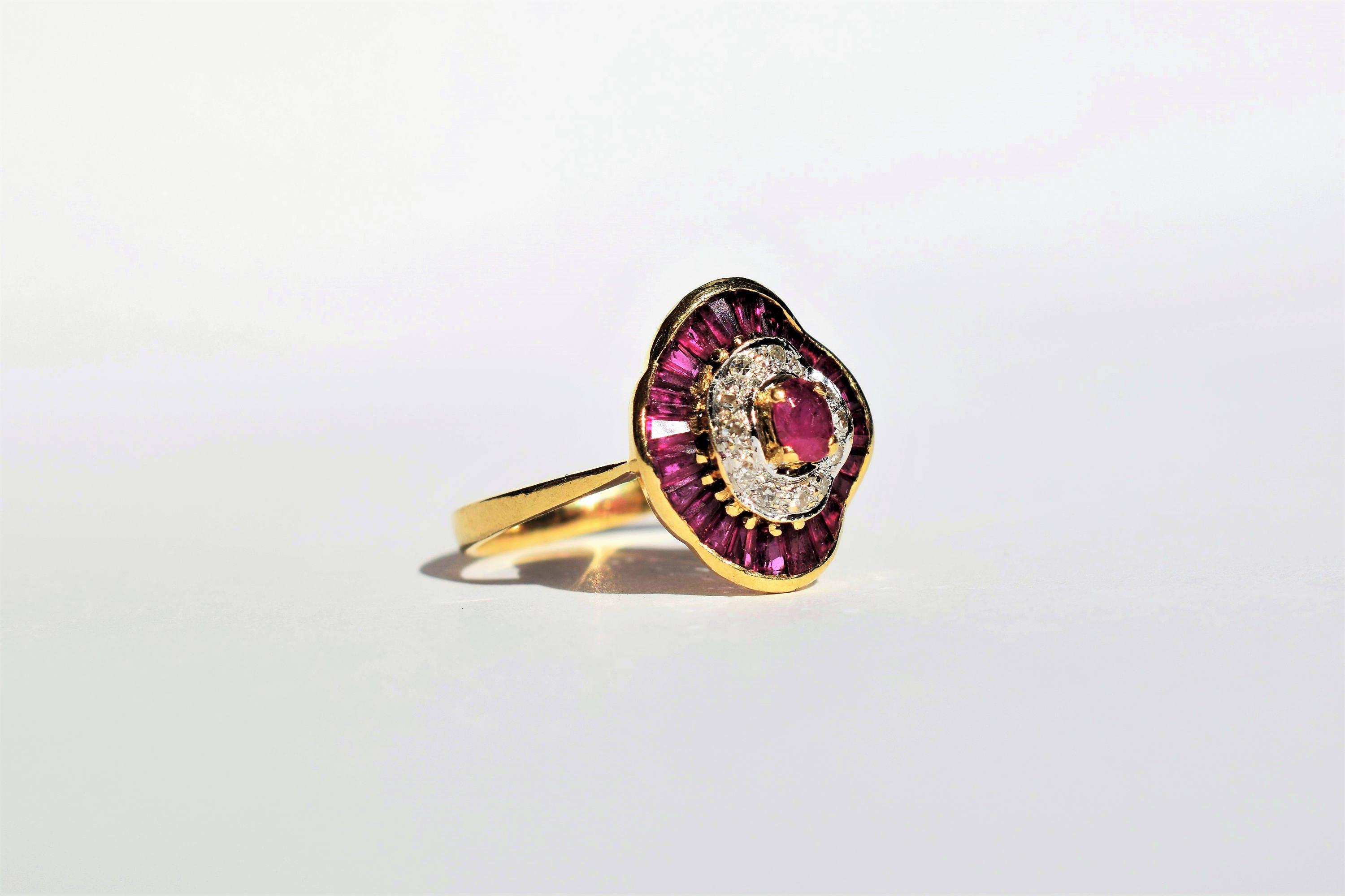 products stud bespoke gold diamond white ruby fine earrings jewellery campbell jewellers halo dublin