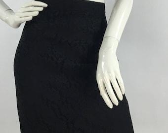 Vintage black lace skirt/80s Authentic Prima Donna fitted lace skirt/vintage black lace skirt