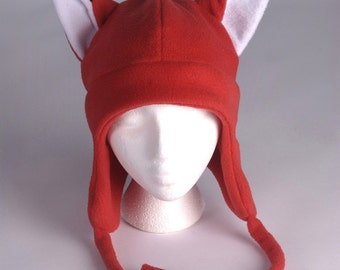 Fleece Fox Hat - Red Aviator Style Fox Ear Hat by Ningen Headwear
