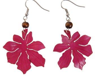 leaf earrings chestnut leather flower