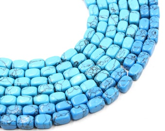 "12mm faceted turquoise barrel beads in blue 15"" strand"
