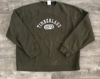 Timberland Green White Graphic Spell Out Crewneck Pullover Oversized Sweatshirt - Large