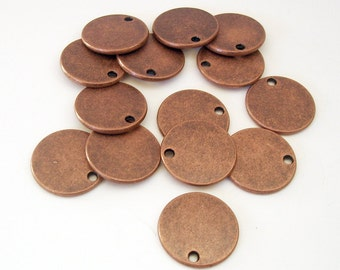10pcs- Stamping Disk Antiqued Copper diam -17mm, thick- 1.65mm hole- 1.6mm