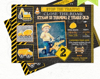 Construction Birthday Invitation, Dump Truck Invitation, Chalkboard Invitation - Style 8 - YOU PRINT